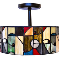 Retro Stained Glass Light Fixture