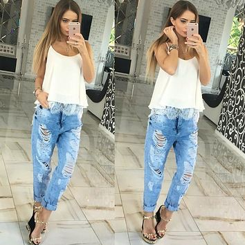 Summer Women Blouses Fashion Lace Patchwork Loose Tops Sexy Off Shoulder Low Cut Sleeveless Slip Women'S Shirt