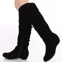 Black Smooth Faux Suede Slouchy Boots