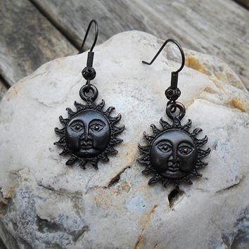 Black Sun earrings, black patina brass antique look sun charms, sun with face, boho earrings, goth earrings, steampunk earrings; UK seller