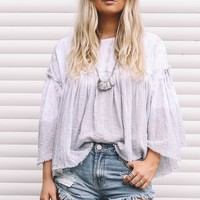 Total Eclipse Grey And White Tie Dye Top