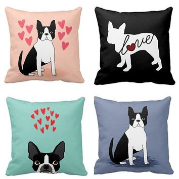 Boston Terrier Pillow- Valentines Hearts Square Zippered Throw Pillowcase