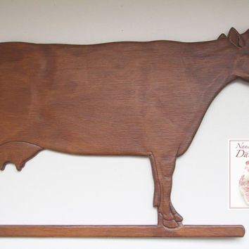Antique Country French Carved Wooden Wood Bovine Cow / Bull Wall Plaque Sign