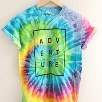 ADVENTURE Bright Rainbow Tie-Dye Graphic Tee