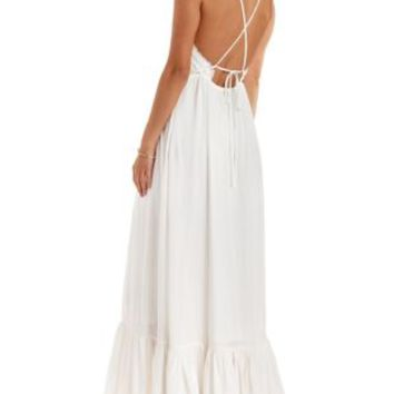 White Strappy Back Crochet-Trim Maxi Dress by Charlotte Russe