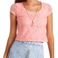 Cap Sleeve Sheer-Back Lace Crop Top by Charlotte Russe