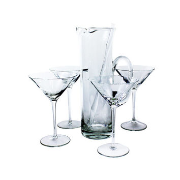 Vintage Martini Glasses Cocktail Pitcher Stirring Rod Gift Set
