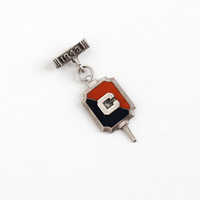 Vintage Sterling Silver Student Council Award Key Fob Pin - 1943 Mid Century January Enamel High School Medal Brooch Pendant Jewelry