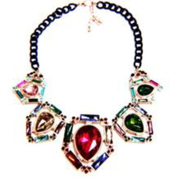 Victorian Jewel Tone Crystal Enamel Necklace