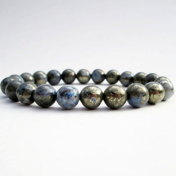 Blue Pyrite Inclusions Quartz Bracelet Bead Bracelet Gemstone Bracelet Mens Womens Bracelet Yoga Bracelet Gifts Under 50