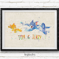 Tom and Jerry Watercolor Print, Cat and Mouse Baby Girl Nursery Decor, Wall Art, Home Decor, Gift Idea, Not Framed, Buy 2 Get 1 Free!