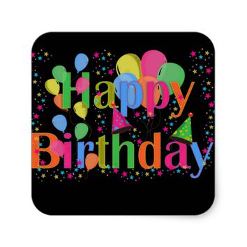 Happy Birthday Party Balloons Square Sticker