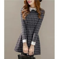 Collared Long-Sleeve Check Mini Dress