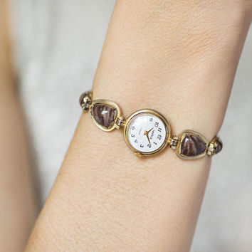 Evening watch bracelet for women Seagull, women's watch gold shade, brown ceramic inclusions on bracelet, posh women's watch for small wrist