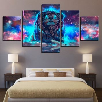 Canvas Wall Art: 5-Panel Lion Nebula & Constellation Print Wall Art