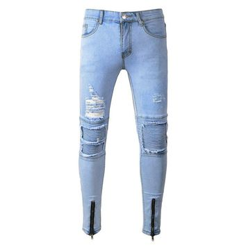 Distressed Ripped Men Jeans Skinny Pants Slim Fit Streetwear Hip Hop Male Denim Trousers Stretch Moto Biker Tapered Patch Jogger