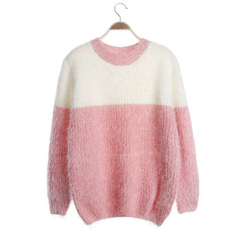 Women's Round Collar Long Sleeves Mohair Sweater