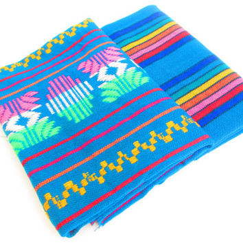 Mexican Fabric Bundle, aztec fabric, tribal fabric by the yard,colorful tribal fabric by the yard, fabric bundle, housewares. teal blue.