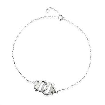 Mothers Day Jewelry 925 Silver CZ Handcuff Anklet Obsession Secret Shades 9in