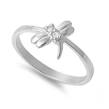 925 Sterling Silver CZ Dragonfly Inspire Ring 9MM