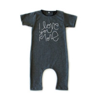 I Love You More Romper - Grey