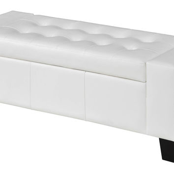 Syracuse White Storage Ottoman Bench