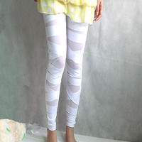 White Mesh Leggings with Cross Detail