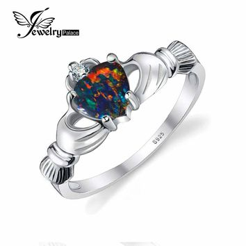 JewelryPalace Heart 0.6ct Irish Claddagh Created Black Opal Birthstone Promise Ring 925 Sterling Silver Fashion Party Jewelry