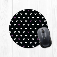 Heart Pattern Mousepad - Radiant Violet Purple and Black Mouse Pad - Valentine - Valentine's Day