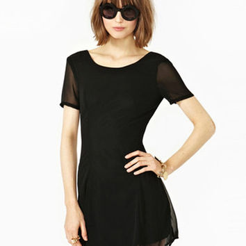 Black Short Sleeve Chiffon Mini Dress