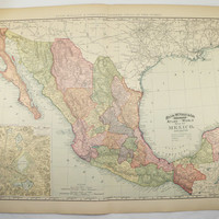 Antique Mexico Map Large Vintage Old 1896 Original Wedding Anniversary Travel Gifts Under 100 Gifts for Home Art Gifts for Him Her Traveler