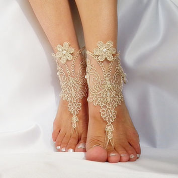 Burlap rustic gold Barefoot Sandals french lace Nude shoes yoga anklet bangle zen boho bohemian modern nude shoe one finger shoe