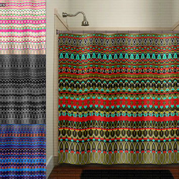 gypsy hippie art Navajo tapestry bohemian shower curtain bathroom decor fabric kids bath white black custom duvet cover rug mat window
