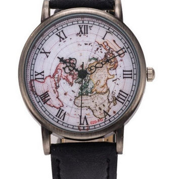 Extraordinary High Quality Men And Women Fashion Retro Table Roman Copper Shell Surface Map Table Quartz Watch = 5987508289