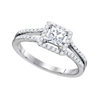 Diamond Bridal Ring with 0.50ct Center Princess Stone in 14k White Gold 0.79 ctw