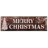 "Adeco Decorative Wood Wall Hanging Sign Plaque, ""Merry Christmas"" with Tree Red-Brown White Home Decor"