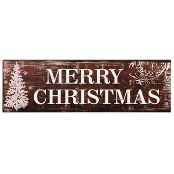 """Adeco Decorative Wood Wall Hanging Sign Plaque, """"Merry Christmas"""" with Tree Red-Brown White Home Decor"""