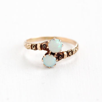 Antique 10K Rose Gold Toi et Moi Opal Ring - Vintage Victorian Late 1800s Flower Repousse Two Stone Fiery Gemstone Fine Jewelry