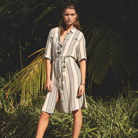 Belted Stripe Button Down Dress 12019