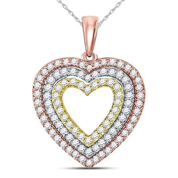 10kt Tri-Tone Gold Womens Round Diamond Triple Heart Pendant 1/2 Cttw