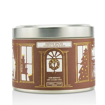 Tin Can 100% Beeswax Candle with Wooden Wick - Festive Spices (Cinnamon, Orange & Clove) - (8x5) cm