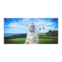 "Hawaii White Buddha Photo ""Feel Most Alive"" Quote Canvas Print"