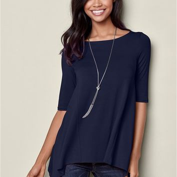 Boat Neck A-Line Top in Olive | VENUS