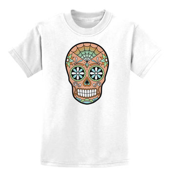 Version 6 Copper Patina Day of the Dead Calavera Childrens T-Shirt
