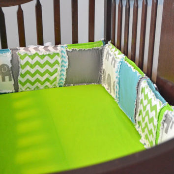Custom Crib Bumpers, Gray Elephant, Blue Chevron, and Lime Green Fabrics, Rag Quilt Style, You Design for a Boy, Made to Order