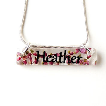 Heather Name Necklace, Real Flowers Resin Pendant, Botanical Jewelry, Resin Jewelry, Heather Jewelry, Floral Jewelry, UK (2008)