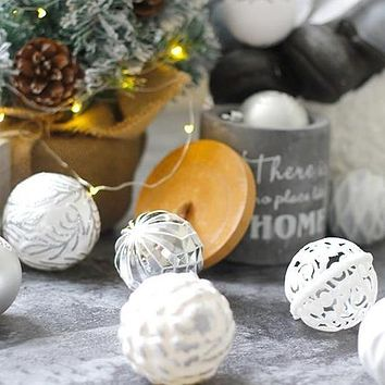 20/12 Pack: Elegant Glitter and Shiny Plated Christmas Tree Ornaments