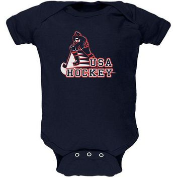 DCCKIS3 Fast Hockey Player Country USA Soft Baby One Piece