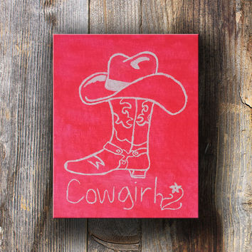 Cowgirl, Cowgirl hat Cowgirl Boots, Hot Pink Painting, Country Painting