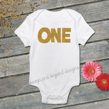First Birthday Shirt One Gold Glitter Birthday Outfit Baby Girl READY TO SHIP 013